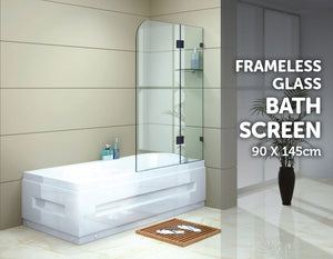 900 x 1450mm Frameless Bath Panel 10mm Glass Shower Screen By Della Francesca