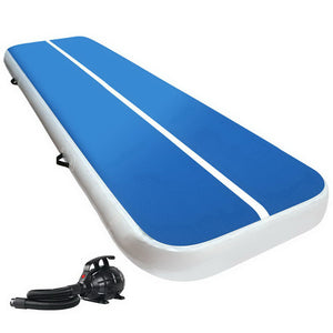 Everfit 3X1M Inflatable Air Track Mat 20CM Thick with Pump Tumbling Gymnastics Blue