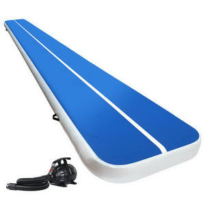 Everfit 6X1M Inflatable Air Track Mat 20CM Thick with Pump Tumbling Gymnastics Blue