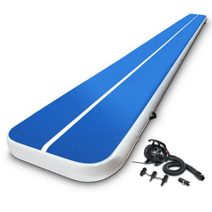 Everfit 8X1M Inflatable Air Track Mat 20CM Thick with Pump Tumbling Gymnastics Blue