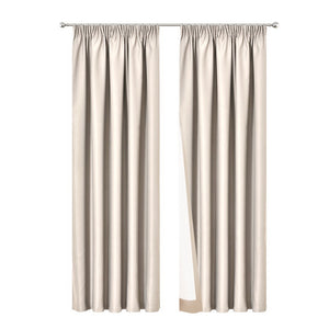Art Queen 2 Pencil Pleat 240x230cm Blockout Curtains - Sand