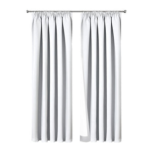 Art Queen 2 Pencil Pleat 240x230cm Blockout Curtains - White