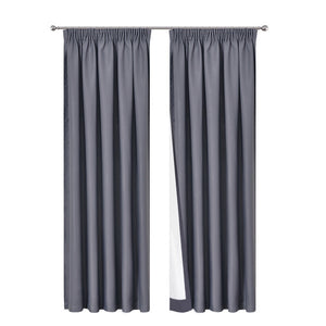 Art Queen 2 Pencil Pleat 300x230cm Blockout Curtains - Dark Grey