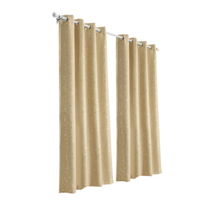 Art Queen 2 Star Blockout 140x180cm Blackout Curtains - Latte