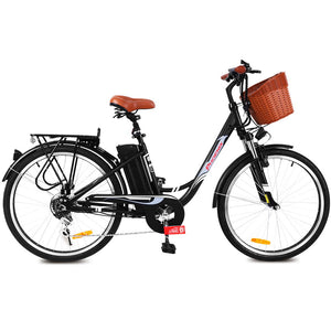 "Phoenix 26"" Electric Bike eBike e-Bike Bicycle City Battery Motorized with Basket Black"