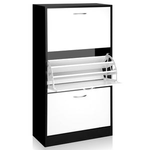 Artiss 3 Tier Shoe Cabinet - Black & White