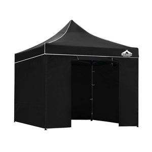 Instahut Aluminium Pop Up Gazebo Outdoor Folding Marquee Tent 3x3m Black