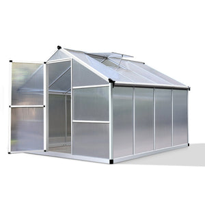 Greenfingers 2.4x2.5M Polycarbonate Hobby Aluminium Greenhouse Garden Grow Plant