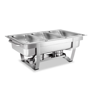 Emajin 9L Bain Marie Bow Chafing Dish 3Lx3 Stainless Steel Food Buffet Warmer