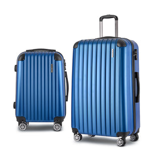 Wanderlite 2 Piece Lightweight Hard Suit Case Luggage Blue