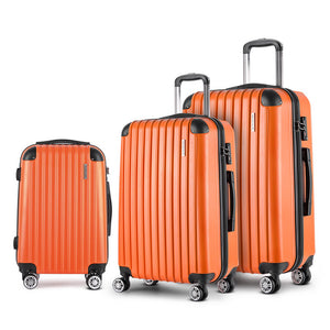 Wanderlite 3 Piece Lightweight Hard Suit Case Luggage Orange