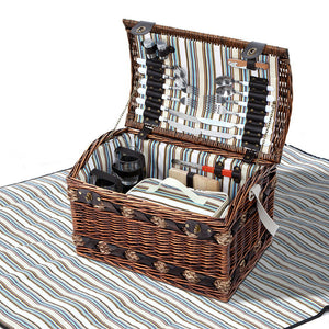 Alfresco 4 Person Wicker Picnic Basket Baskets Outdoor Insulated Gift Blanket