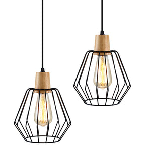 Artiss 2x Pendant Light Wood and Metal Black