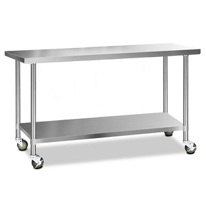 Cefito 304 Stainless Steel Kitchen Benches Work Bench Food Prep Table with Wheels 1829MM x 610MM