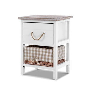 Artiss 2x Bedside Tables Shabby Chic Storage Cabinet Unit Drawers Side Basket
