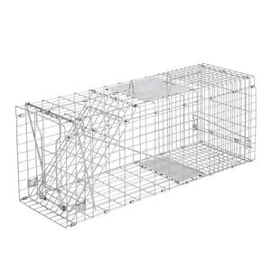 Humane Animal Trap Cage 94 x 34 x 36cm  - Silver