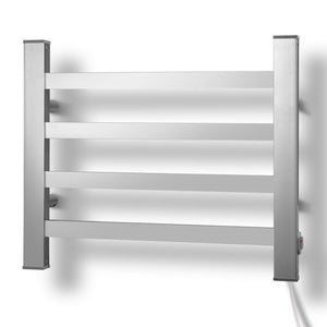 DEVANTI Electric Heated Ladder Towel Rails Bathroom Dryer Clothes Warmer 4 Racks Square Bars Rungs