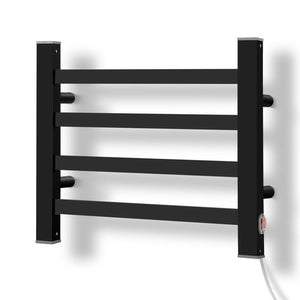DEVANTI Electric Heated Ladder Towel Rails Bathroom Dryer Clothes Warmer 4 Racks Square Bars Black Rungs
