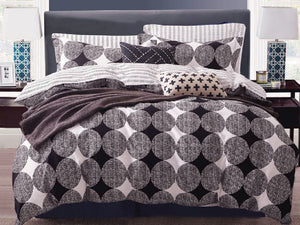 Queen Size Cotton Circular Modern Quilt Cover Set (3PCS)