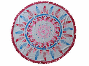 Round Beach Towel 150cm Printed Feather Pink
