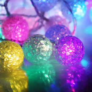 Jingle Jollys 12.5M Christmas Snowball String Lights - Multi Colour