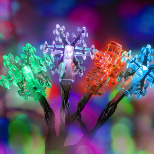 Jingle Jollys 20M Christmas Snowflake String Lights - Multi Colour