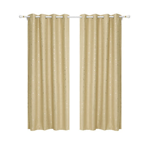 Art Queen 2 Star Blockout 180x213cm Blackout Curtains - Latte