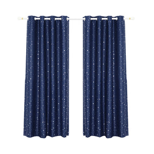 Art Queen 2 Star Blockout 180x213cm Blackout Curtains - Navy