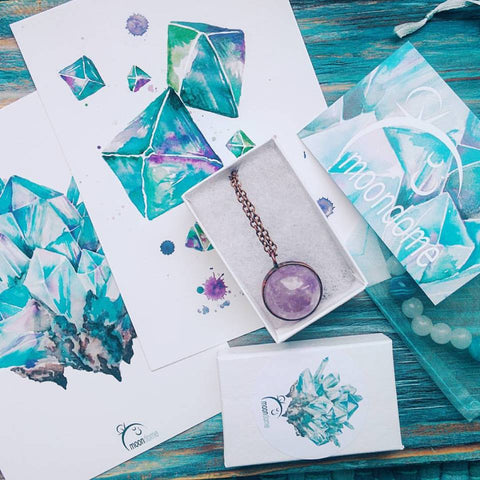 MoonDome watercolor crystals cards