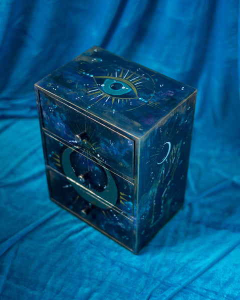 Tarot storage chest Golden Moon  with three drawers