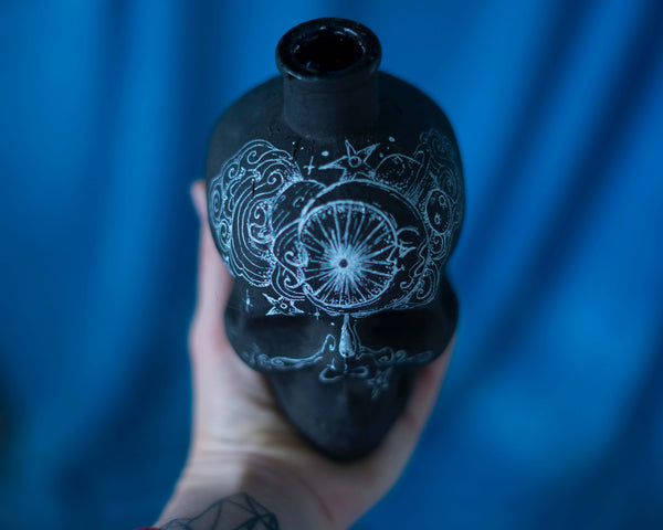 Black scull bottle / candle holder / altar accessory