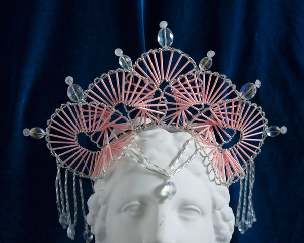 Proserpina Pink Geometric Headpiece Crown with rose quartz