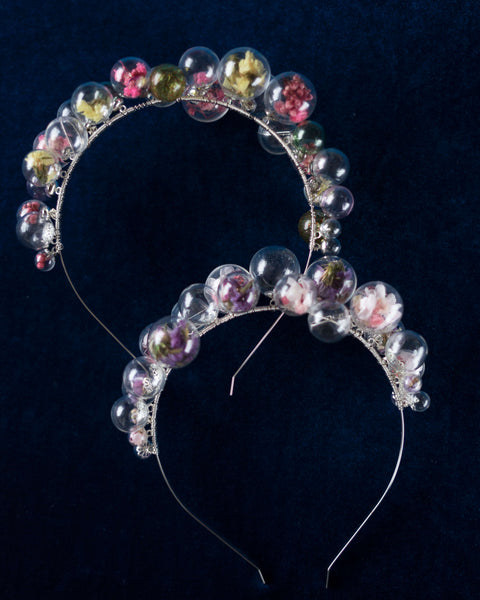 Happy Bubble bridal tiara with real flowers and petals