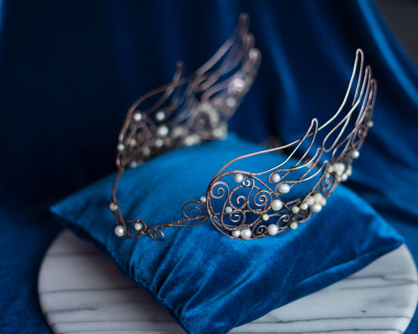 Angel winged pearl crown, wire wrapped copper diadem