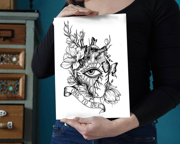 Eye heart you One to see art print with anatomical blooming heart