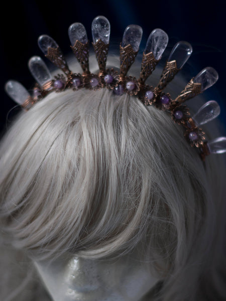 Flora amethyst halo crystal crown