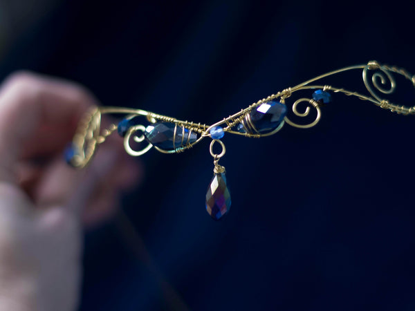 Iris Golden brass circlet with dark blue iridescent crystals