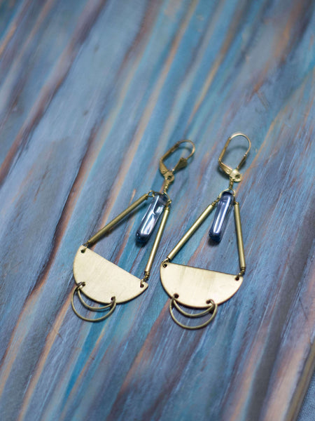 Carrina brass moon earrings
