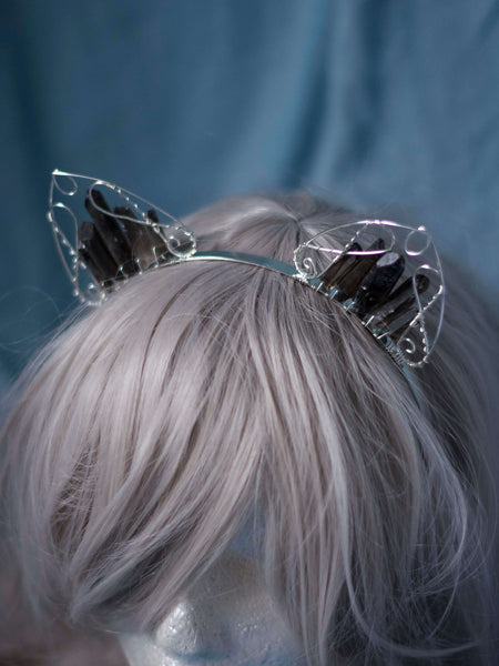 Crystal cat ears wire wrapped headband