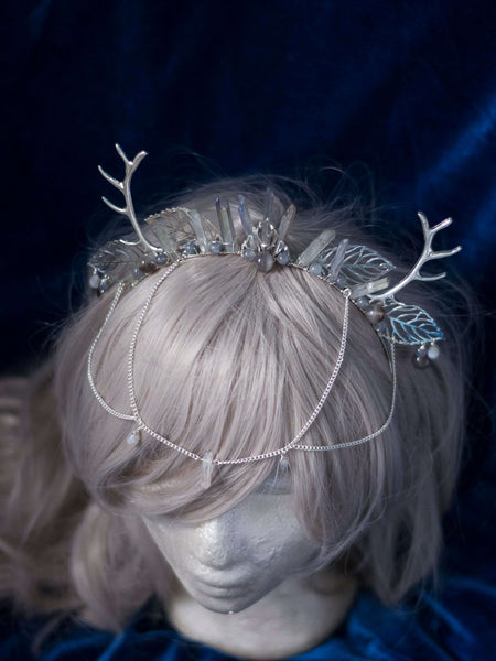 Wiccanica stag horns silver headdress with angel aura quartz