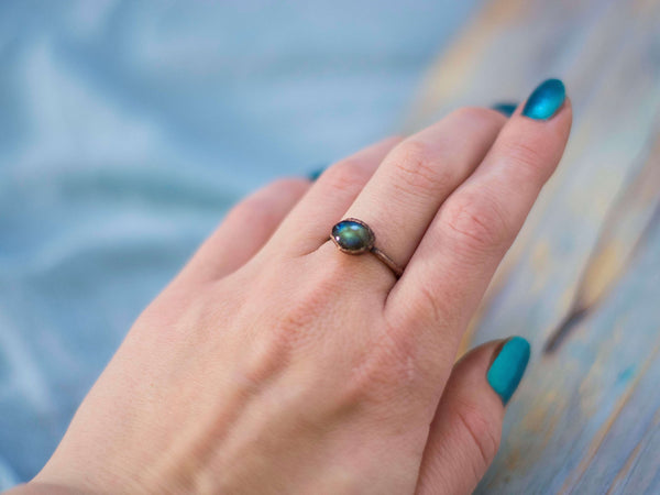 Simply minimal rustic stackable labradorite rings - MoonDome - 4