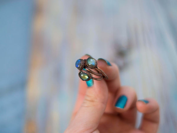 Simply minimal rustic stackable labradorite rings - MoonDome - 3