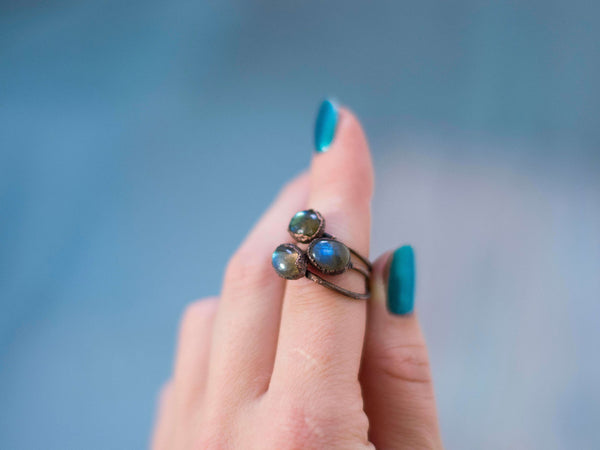 Simply minimal rustic stackable labradorite rings - MoonDome - 5