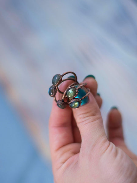 Simply minimal rustic stackable labradorite rings - MoonDome - 6