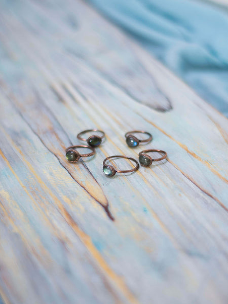 Simply minimal rustic stackable labradorite rings - MoonDome - 7