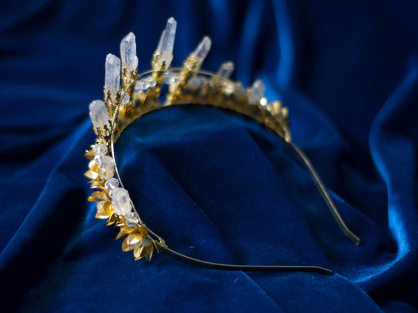 Golden Lotus Aura quartz crown