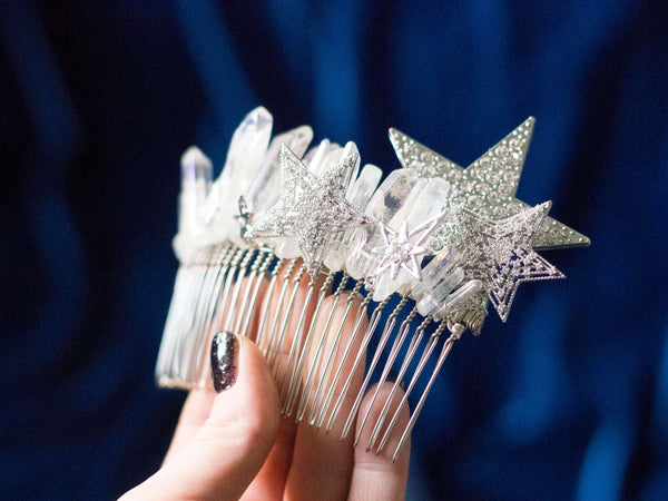 Be my star Silver aura quartz hair comb