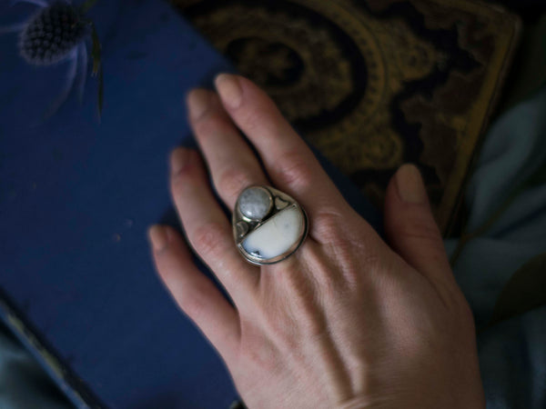 Full moon silver statement ring with moonstone and merlenite