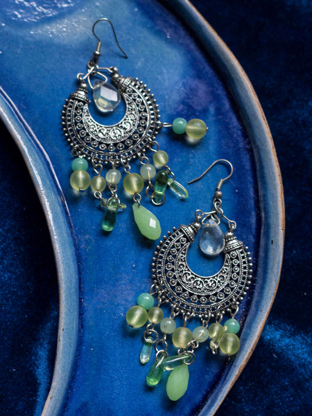 Kuta Boho dangle earrings with colored glass crystals