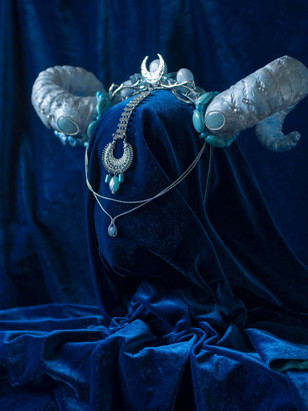 Blue Lilith horned headdress